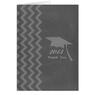 Chalkboard Inspired Zigzag Graduation Thank You Greeting Cards