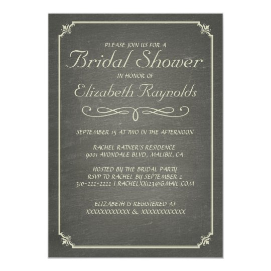 Chalkboard Ivory Bridal Shower Invitations