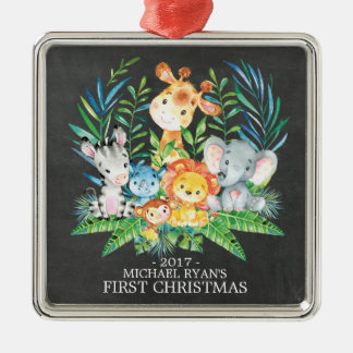 Chalkboard Jungle Baby's First Christmas Ornament