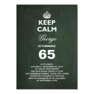 Chalkboard Keep Calm Funny 65th Birthday Party Card