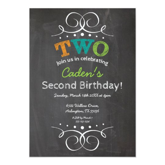 Chalkboard Kids Birthday Party Invitation