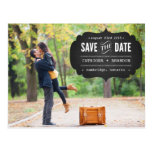 Chalkboard Label Photo Save the Date Postcard