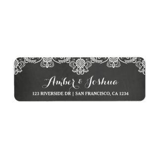 Chalkboard & Lace Typography Return Address Label