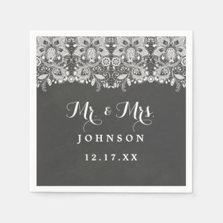 Chalkboard Lace Wedding Paper Napkins