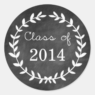 Chalkboard Laurel Graduation Envelope Seal Round Sticker