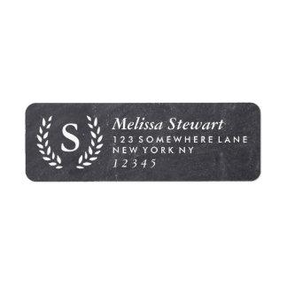 Chalkboard Laurel Wreath Monogram Return Address Return Address Label