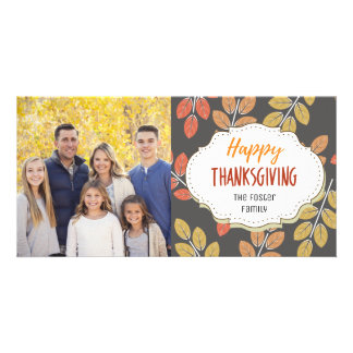 Chalkboard Leaves Thanksgiving Picture Photo Card