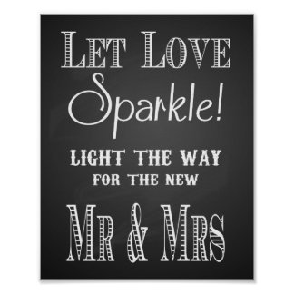 Chalkboard Let love sparkle light the way print