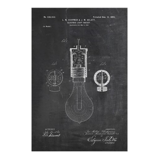 Chalkboard Light Bulb Patent Poster