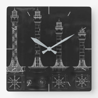 Chalkboard Lighthouse Plans Timepiece Square Wall Clock