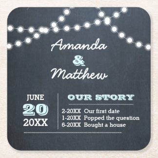 Chalkboard Lights Aqua Personalized Wedding Square Paper Coaster