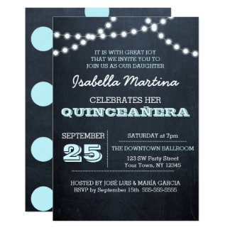 Chalkboard Lights Aqua Quinceañera Invitation