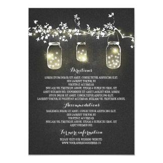 Chalkboard Lights Mason Jars Wedding Information 11 Cm X 16 Cm Invitation Card