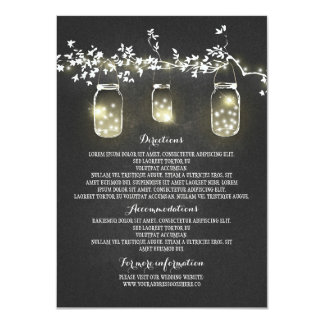 Chalkboard Lights Mason Jars Wedding Information Card