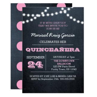 Chalkboard Lights Pink Quinceañera Invitation