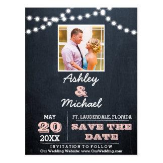 Chalkboard Lights Pink Wedding Save the Date Postcard