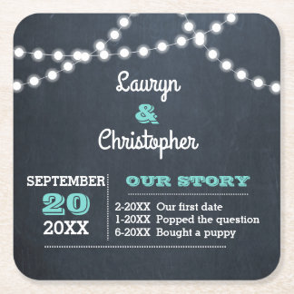 Chalkboard Lights Teal Personalized Wedding Square Paper Coaster