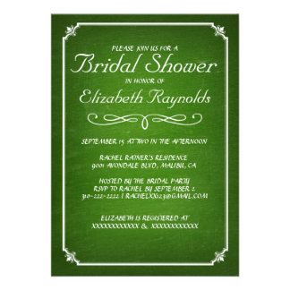 Chalkboard Lime Green Bridal Shower Invitations Invites