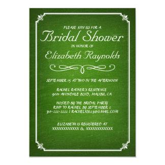 Chalkboard Lime Green Bridal Shower Invitations