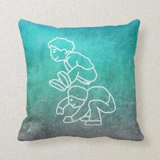 Chalkboard Lip Frog Boys Street-art Doodles Mint Cushion