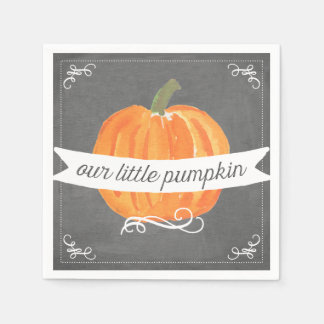 Chalkboard Little Pumpkin Birthday Napkin Disposable Serviette
