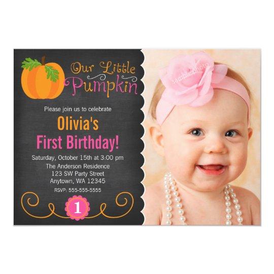 Chalkboard Little Pumpkin Pink Orange Birthday Card