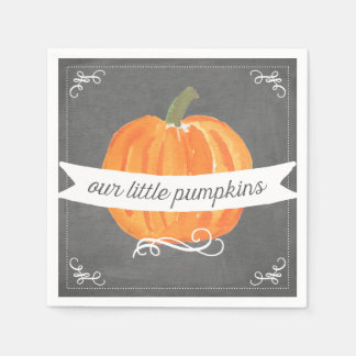 Chalkboard Little Pumpkins Twins Birthday Napkin Disposable Serviettes