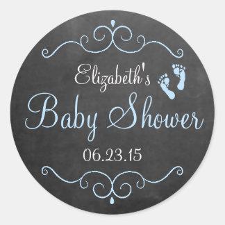 Chalkboard Look - Baby Shower Round Stickers