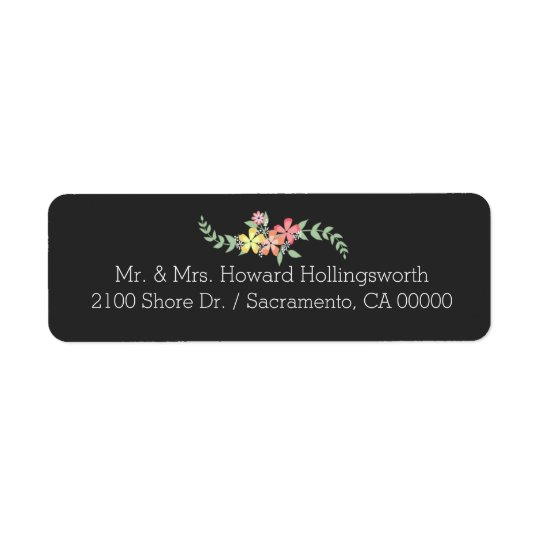 Chalkboard Look Floral Return Address