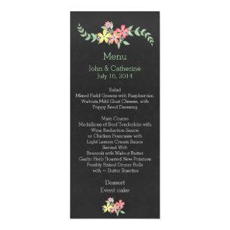 Chalkboard Look Floral Wedding Table Menu 10 Cm X 24 Cm Invitation Card