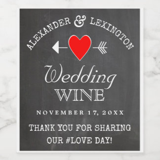 Chalkboard Look Rustic Country Wedding Wine Label