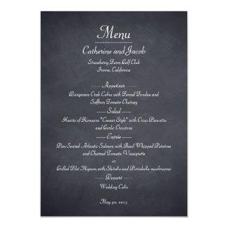 "Chalkboard Look Wedding Menu Card 5"" X 7"" Invitation Card"