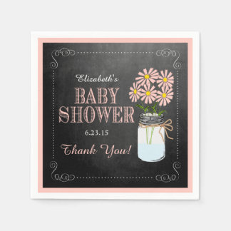 Chalkboard Look with Mason Jar- Peach Baby Shower Paper Napkin