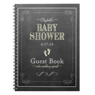 Chalkboard Look Yellow Baby Shower Guest Book Note Book