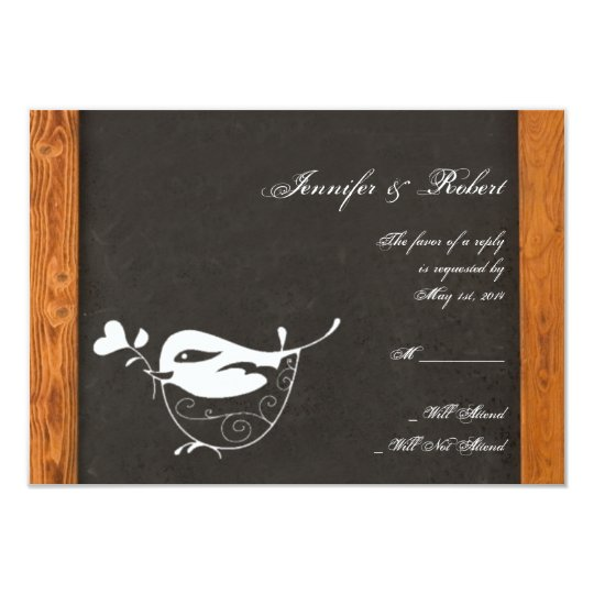 Chalkboard Love Bird Response Card