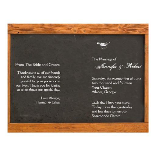 Chalkboard Love Bird Wedding Program Full Color Flyer