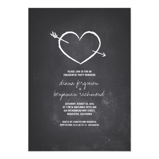 Chalkboard love heart rustic engagement party card