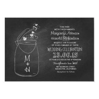 chalkboard love hearts mason jar wedding 13 cm x 18 cm invitation card