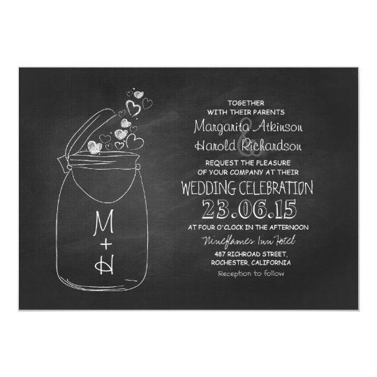 chalkboard love hearts mason jar wedding card