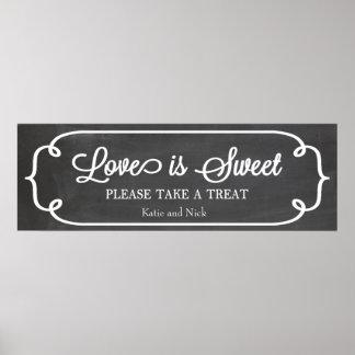 Chalkboard Love is Sweet Sign Poster