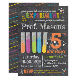 Chalkboard Mad Science Party Birthday Card