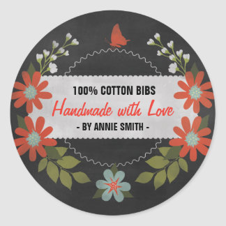 Chalkboard Made with Love, Gift Labels Round Sticker