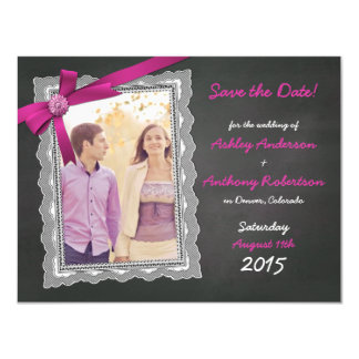 Chalkboard Magenta Bow Photo Wedding Save the Date Magnetic Invitations