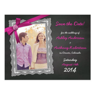 Chalkboard Magenta Bow Photo Wedding Save the Date Postcard