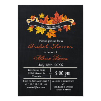 chalkboard maple leaves fall bridal shower card