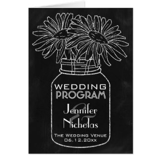Chalkboard - Mason Jar and Daisies Wedding Program