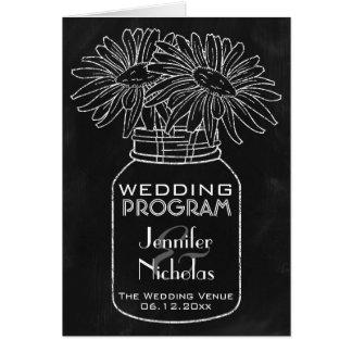 Chalkboard - Mason Jar and Daisies Wedding Program Card