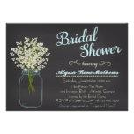Chalkboard Mason Jar Baby's Breath Bridal Shower Custom Invitations