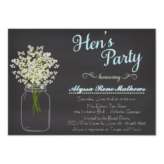 Chalkboard Mason Jar Baby's Breath Hen's Party 11 Cm X 16 Cm Invitation Card