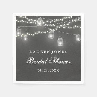 Chalkboard Mason Jar Bridal Shower Napkin Paper Serviettes
